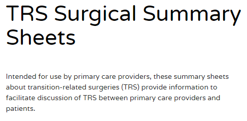 TRS Surgical Summary Sheets